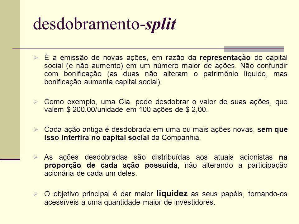 desdobramento-split É a emissão de novas ações, em razão da representação do capital social (e não aumento) em um número maior de ações. Não confundir