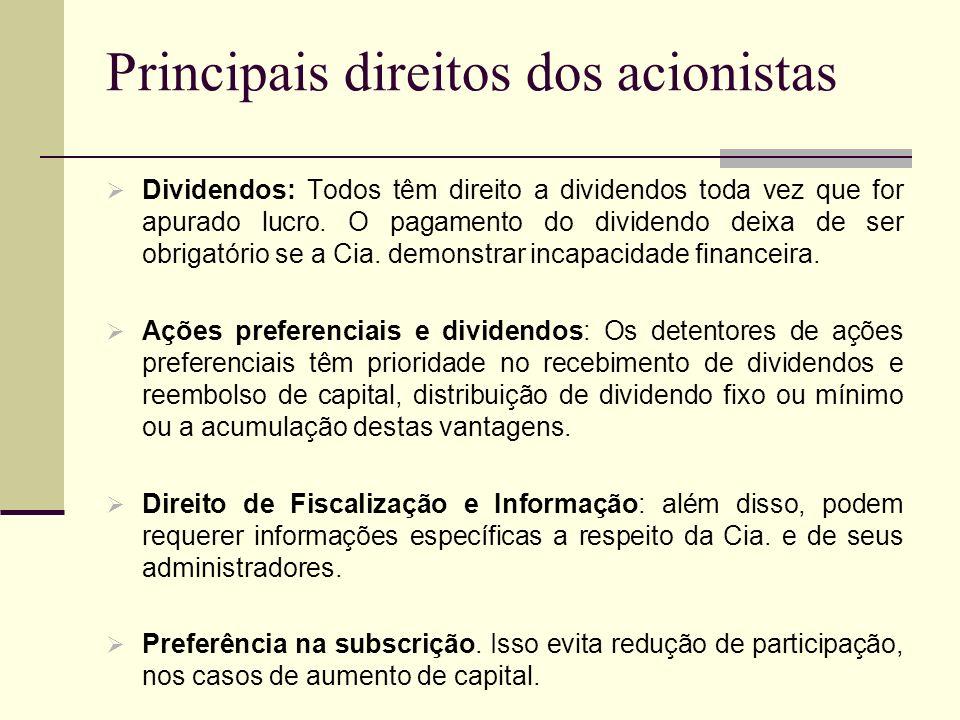 Principais direitos dos acionistas Dividendos: Todos têm direito a dividendos toda vez que for apurado lucro. O pagamento do dividendo deixa de ser ob