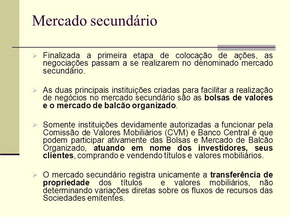 Mercado secundário Finalizada a primeira etapa de colocação de ações, as negociações passam a se realizarem no denominado mercado secundário. As duas