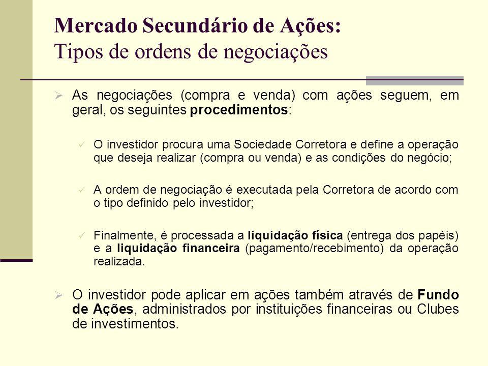 Mercado Secundário de Ações: Tipos de ordens de negociações As negociações (compra e venda) com ações seguem, em geral, os seguintes procedimentos: O