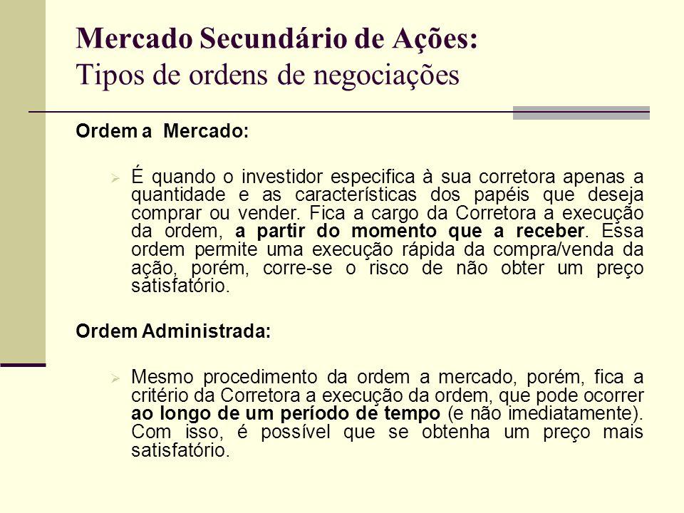Mercado Secundário de Ações: Tipos de ordens de negociações Ordem a Mercado: É quando o investidor especifica à sua corretora apenas a quantidade e as