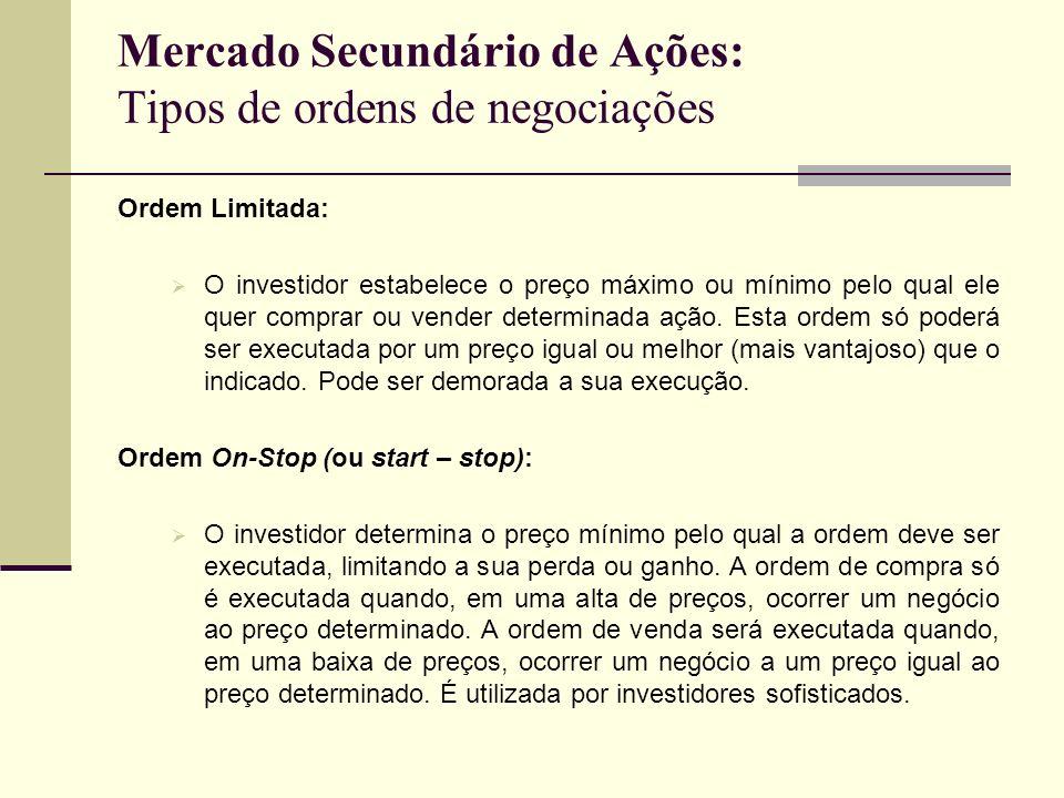 Mercado Secundário de Ações: Tipos de ordens de negociações Ordem Limitada: O investidor estabelece o preço máximo ou mínimo pelo qual ele quer compra