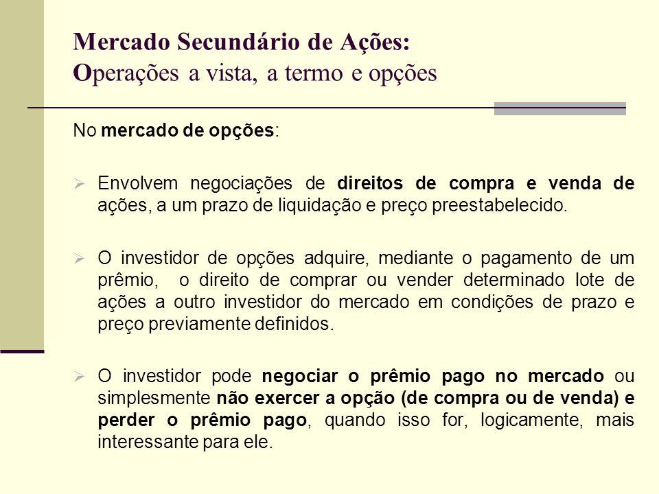Mercado Secundário de Ações: Operações a vista, a termo e opções No mercado de opções: Envolvem negociações de direitos de compra e venda de ações, a
