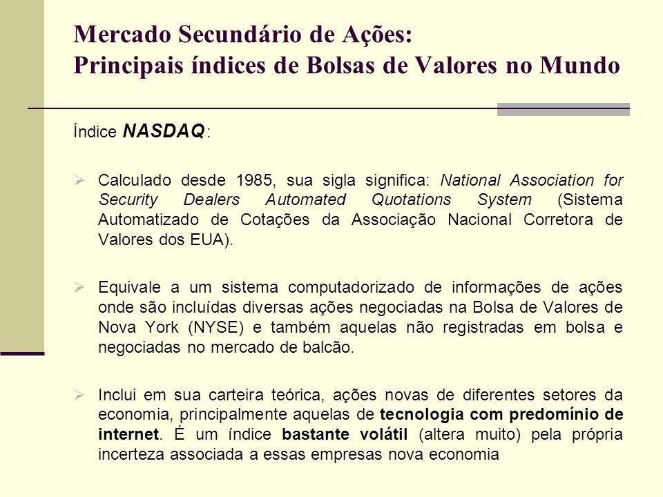 Mercado Secundário de Ações: Principais índices de Bolsas de Valores no Mundo Índice NASDAQ : Calculado desde 1985, sua sigla significa: National Asso