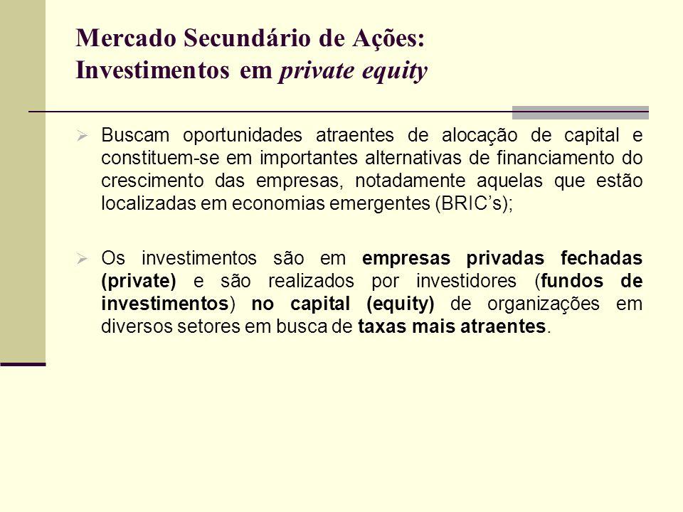 Mercado Secundário de Ações: Investimentos em private equity Buscam oportunidades atraentes de alocação de capital e constituem-se em importantes alte