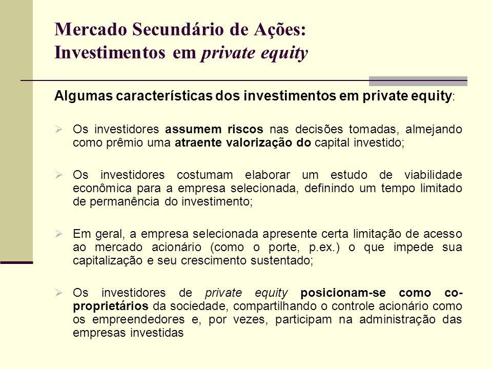 Mercado Secundário de Ações: Investimentos em private equity Algumas características dos investimentos em private equity : Os investidores assumem ris