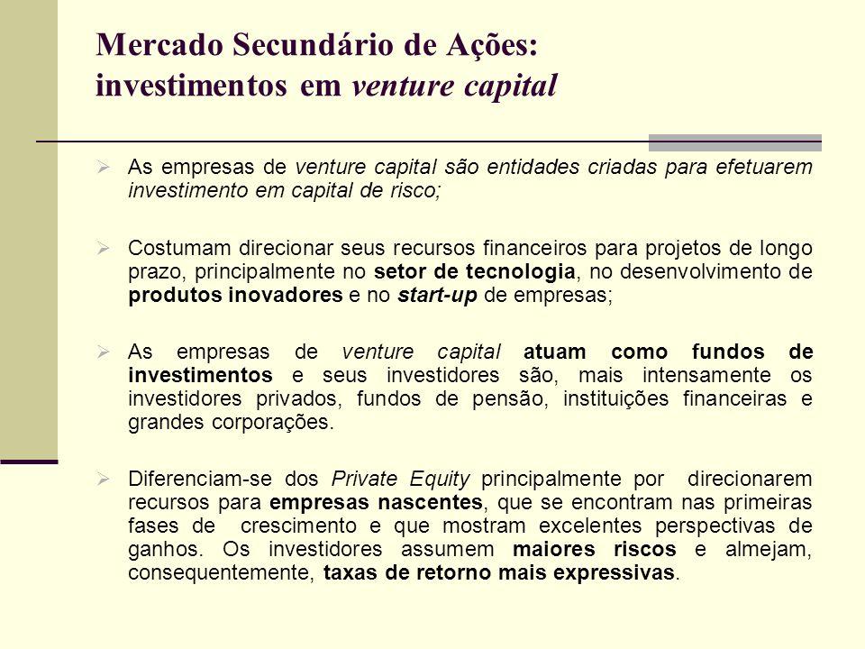 Mercado Secundário de Ações: investimentos em venture capital As empresas de venture capital são entidades criadas para efetuarem investimento em capi