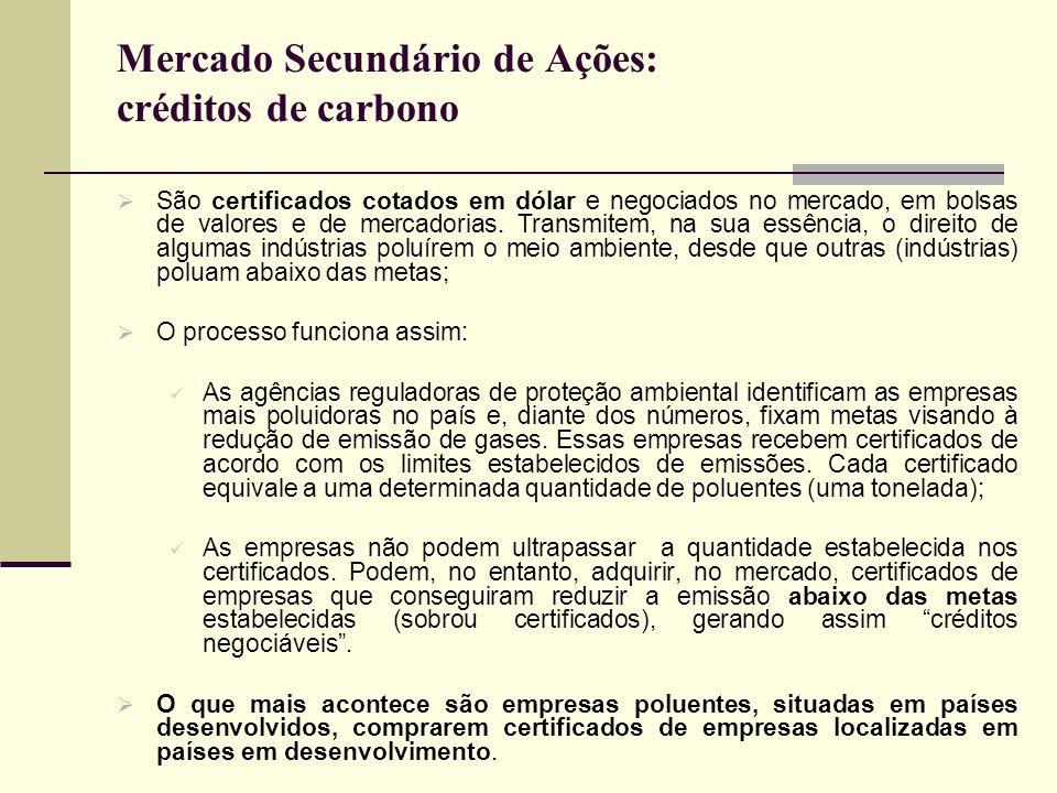 Mercado Secundário de Ações: créditos de carbono São certificados cotados em dólar e negociados no mercado, em bolsas de valores e de mercadorias. Tra