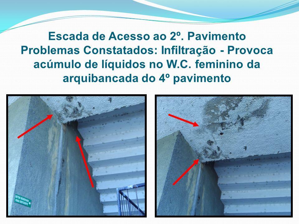 Escada de Acesso ao 2º. Pavimento Problemas Constatados: Infiltração - Provoca acúmulo de líquidos no W.C. feminino da arquibancada do 4º pavimento