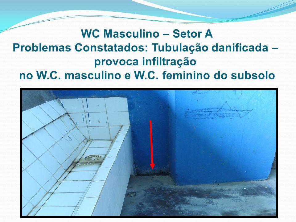 WC Masculino – Setor A Problemas Constatados: Tubulação danificada – provoca infiltração no W.C. masculino e W.C. feminino do subsolo