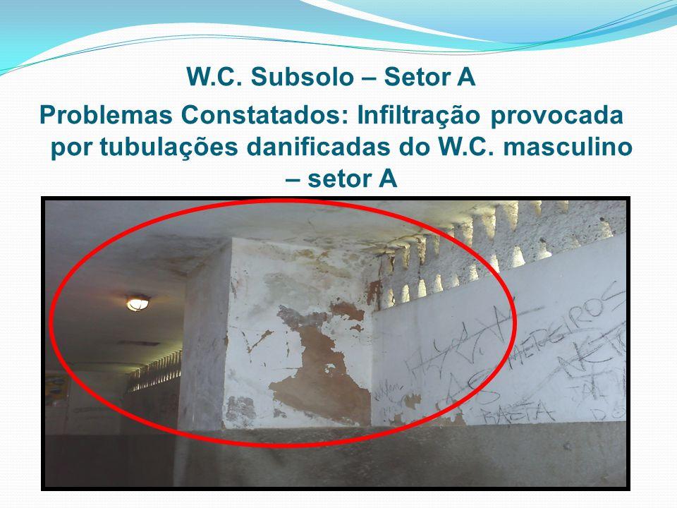 W.C. Subsolo – Setor A Problemas Constatados: Infiltração provocada por tubulações danificadas do W.C. masculino – setor A