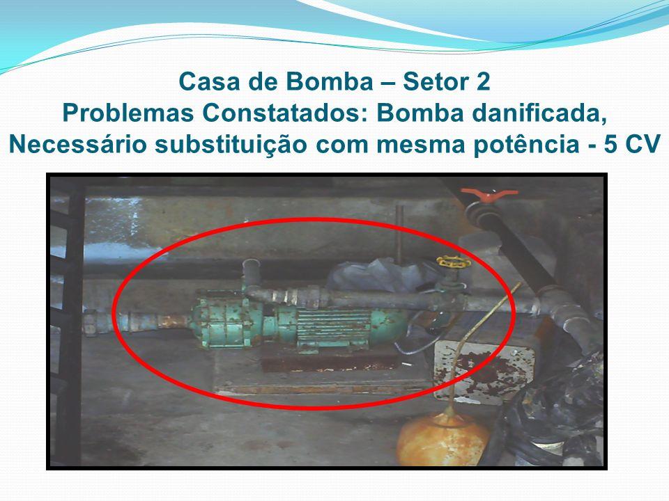 Casa de Bomba – Setor 2 Problemas Constatados: Bomba danificada, Necessário substituição com mesma potência - 5 CV