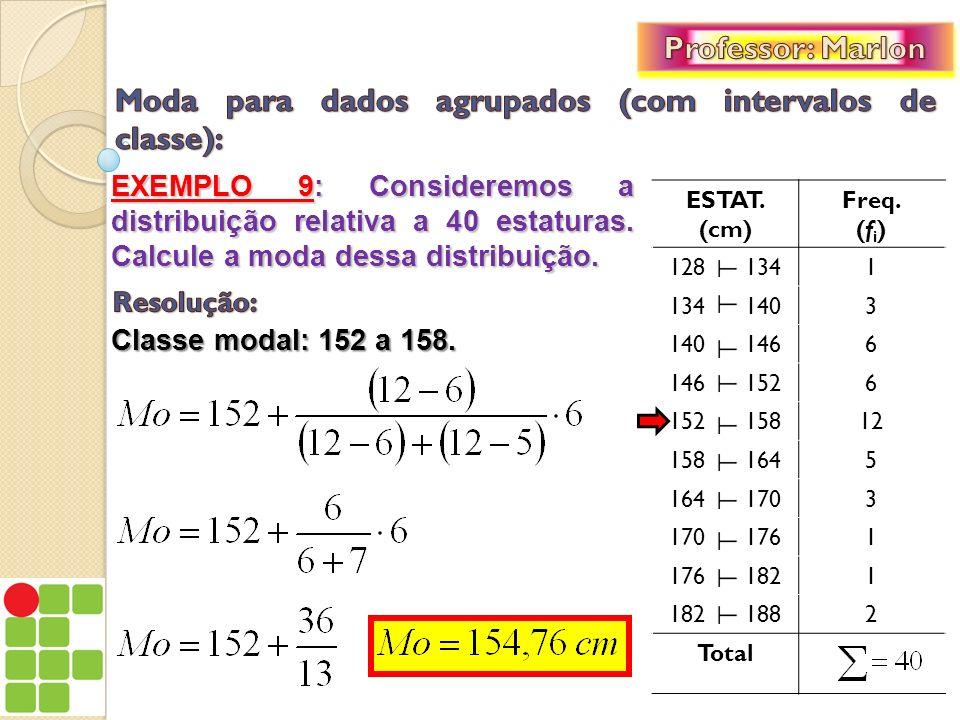EXEMPLO 9: Consideremos a distribuição relativa a 40 estaturas. Calcule a moda dessa distribuição. ESTAT. (cm) Freq. (f i ) 128 1341 134 1403 140 1466
