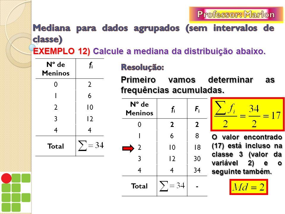 EXEMPLO 12) Calcule a mediana da distribuição abaixo. Primeiro vamos determinar as frequências acumuladas. Nº de Meninos fi fi 02 16 210 312 44 Total