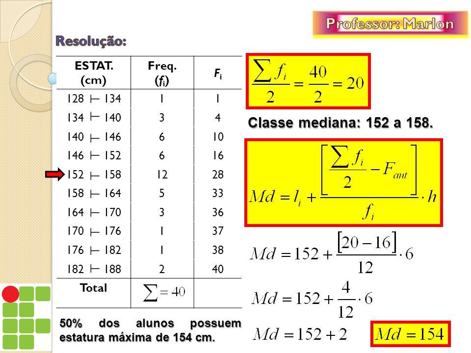 EXEMPLO 15: A tabela abaixo representa os escores (pontuação) obtidos por um grupo de 58 alunos, matriculados em uma determinada disciplina.