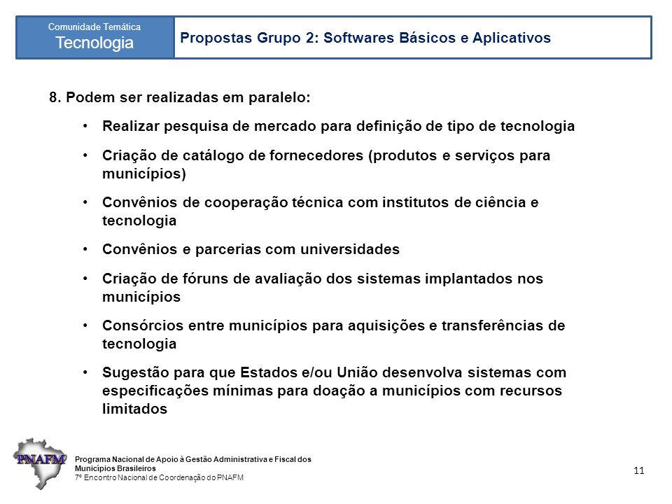 Programa Nacional de Apoio à Gestão Administrativa e Fiscal dos Municípios Brasileiros 7º Encontro Nacional de Coordenação do PNAFM Comunidade Temática Tecnologia 11 8.