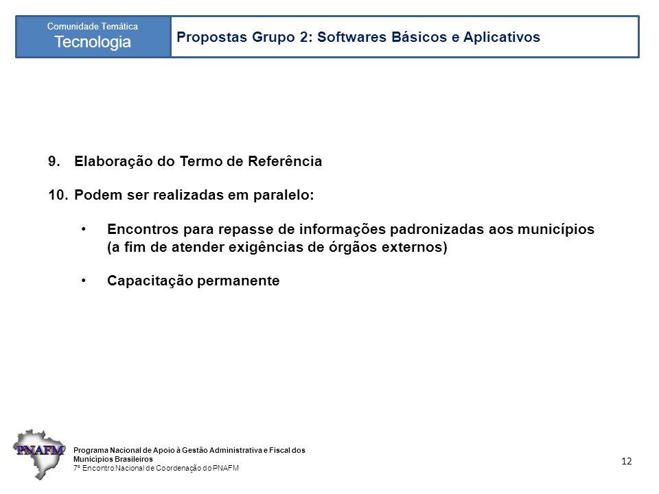 Programa Nacional de Apoio à Gestão Administrativa e Fiscal dos Municípios Brasileiros 7º Encontro Nacional de Coordenação do PNAFM Comunidade Temática Tecnologia 12 9.Elaboração do Termo de Referência 10.Podem ser realizadas em paralelo: Encontros para repasse de informações padronizadas aos municípios (a fim de atender exigências de órgãos externos) Capacitação permanente Propostas Grupo 2: Softwares Básicos e Aplicativos