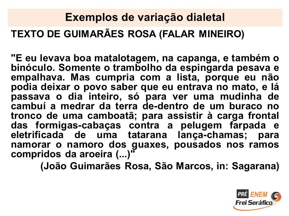 Exemplos de variação dialetal TEXTO DE GUIMARÃES ROSA (FALAR MINEIRO)