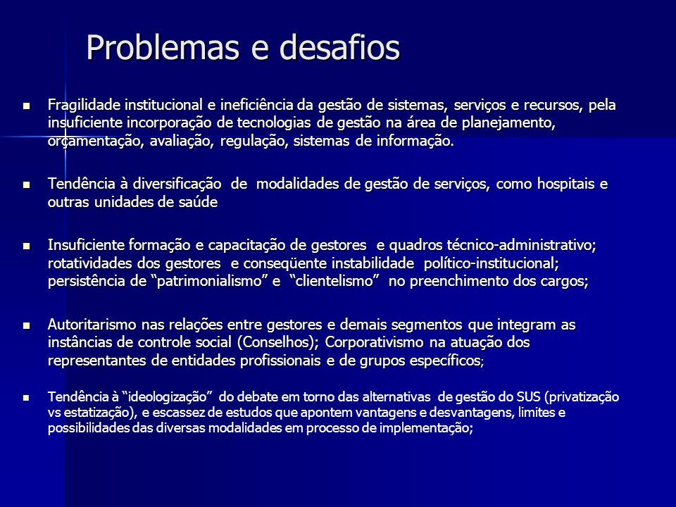 Problemas e desafios Fragilidade institucional e ineficiência da gestão de sistemas, serviços e recursos, pela insuficiente incorporação de tecnologia