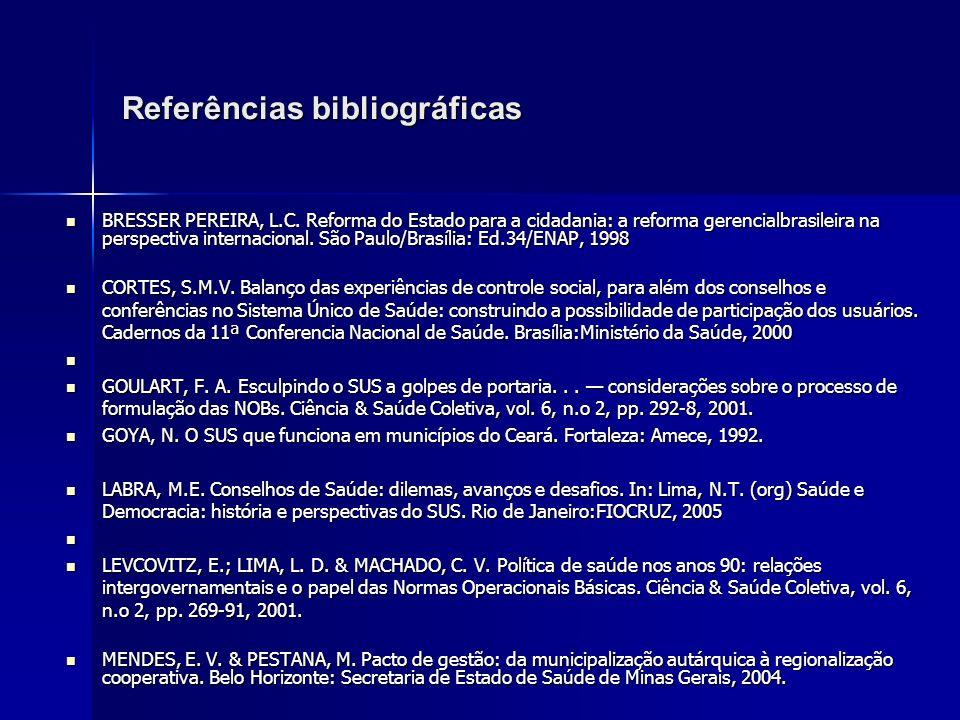 Referências bibliográficas BRESSER PEREIRA, L.C. Reforma do Estado para a cidadania: a reforma gerencialbrasileira na perspectiva internacional. São P