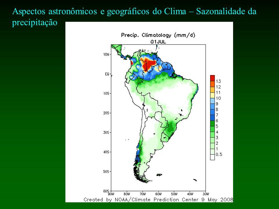 Aspectos astronômicos e geográficos do Clima – Sazonalidade da precipitação