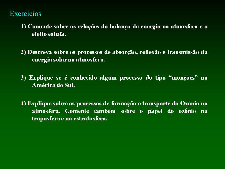 Exercícios 1) Comente sobre as relações do balanço de energia na atmosfera e o efeito estufa.