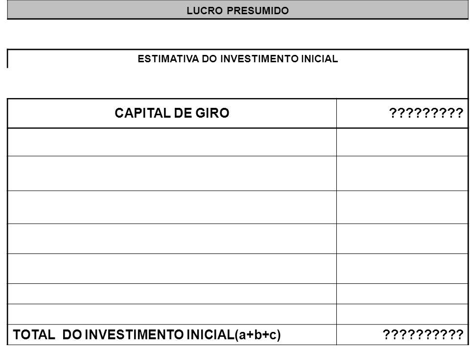 LUCRO PRESUMIDO ESTIMATIVA DO INVESTIMENTO INICIAL CAPITAL DE GIRO ????????? TOTAL DO INVESTIMENTO INICIAL(a+b+c)??????????