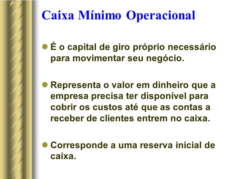 Caixa Mínimo Operacional É o capital de giro próprio necessário para movimentar seu negócio. Representa o valor em dinheiro que a empresa precisa ter