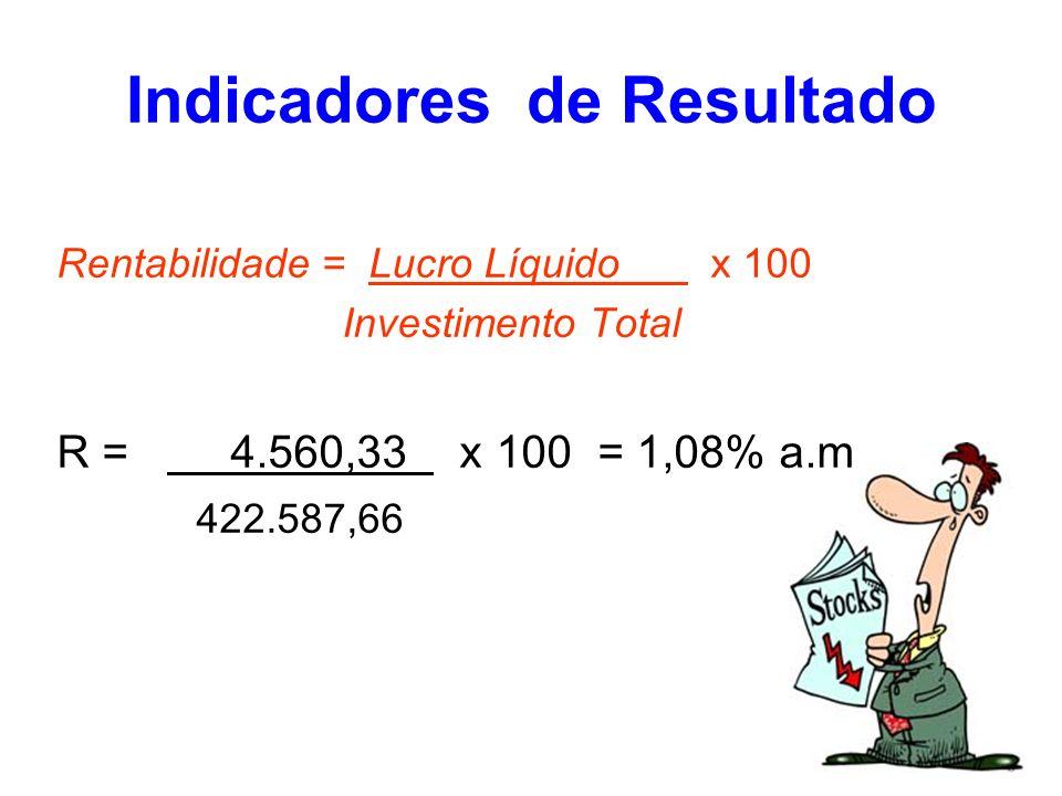 Rentabilidade = Lucro Líquido x 100 Investimento Total R = 4.560,33 x 100 = 1,08% a.m 422.587,66