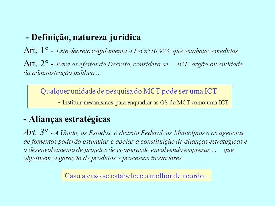 - Definição, natureza jurídica Art. 1° - Este decreto regulamenta a Lei n°10.973, que estabelece medidas... Art. 2° - Para os efeitos do Decreto, cons