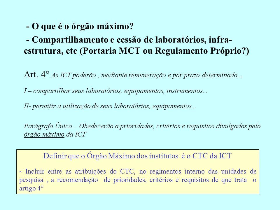 - O que é o órgão máximo? - Compartilhamento e cessão de laboratórios, infra- estrutura, etc (Portaria MCT ou Regulamento Próprio?) Art. 4° As ICT pod