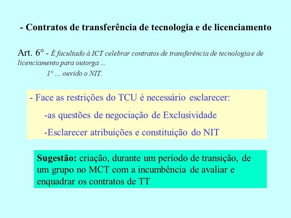 - Contratos de transferência de tecnologia e de licenciamento Art. 6° - É facultado à ICT celebrar contratos de transferência de tecnologia e de licen