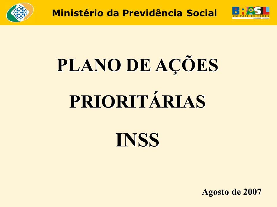 Ministério da Previdência Social Ações Prioritárias - INSS Capacitação O Plano de Ações Prioritárias prevê a capacitação de 8.491 servidores em todo o País por um grupo de l.025 instrutores habilitados.