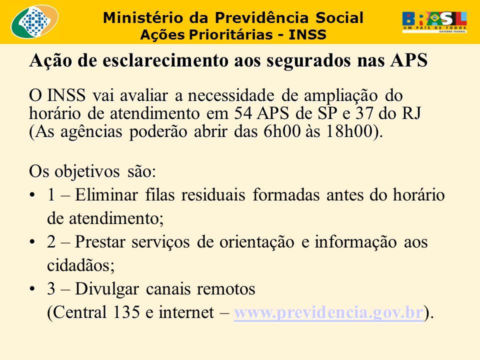 Ministério da Previdência Social Ações Prioritárias - INSS Ação de esclarecimento aos segurados nas APS O INSS vai avaliar a necessidade de ampliação do horário de atendimento em 54 APS de SP e 37 do RJ (As agências poderão abrir das 6h00 às 18h00).