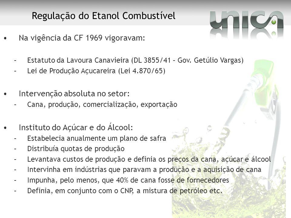Regulação do Etanol Combustível Na vigência da CF 1969 vigoravam: –Estatuto da Lavoura Canavieira (DL 3855/41 – Gov. Getúlio Vargas) –Lei de Produção