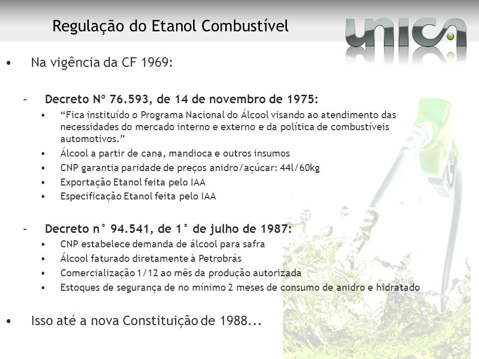Regulação do Etanol Combustível Na vigência da CF 1969: –Decreto Nº 76.593, de 14 de novembro de 1975: Fica instituído o Programa Nacional do Álcool v