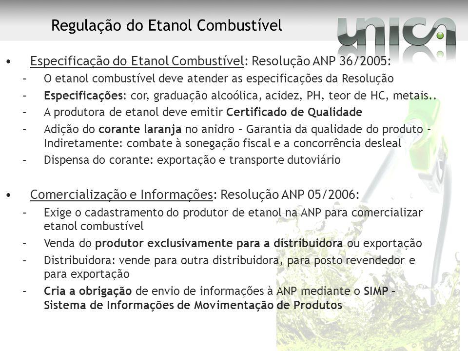 Regulação do Etanol Combustível Especificação do Etanol Combustível: Resolução ANP 36/2005: –O etanol combustível deve atender as especificações da Re