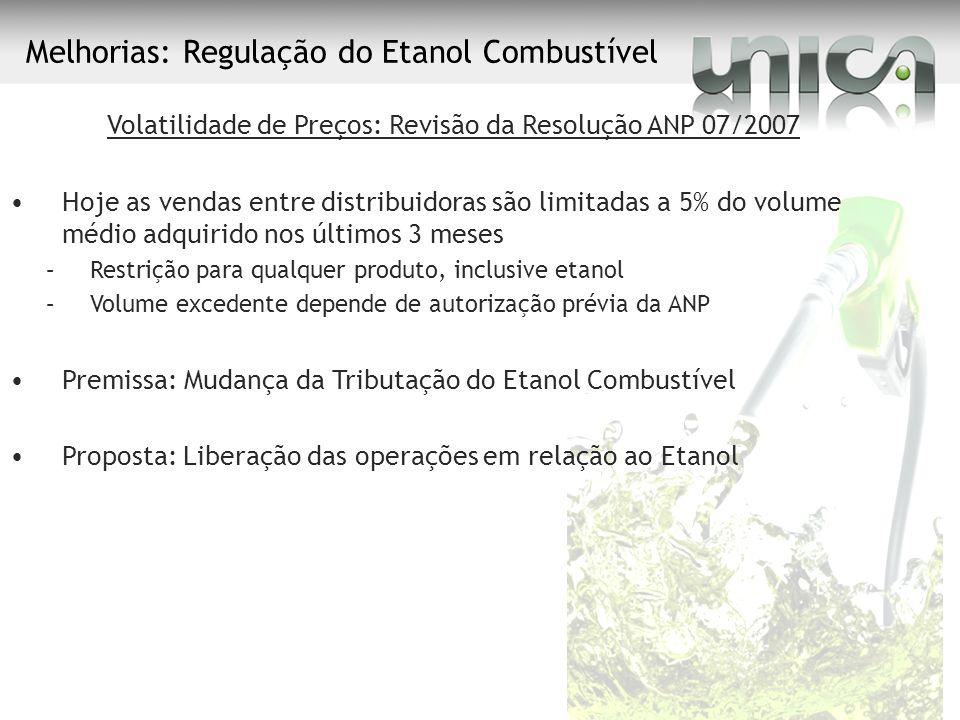 Melhorias: Regulação do Etanol Combustível Volatilidade de Preços: Revisão da Resolução ANP 07/2007 Hoje as vendas entre distribuidoras são limitadas