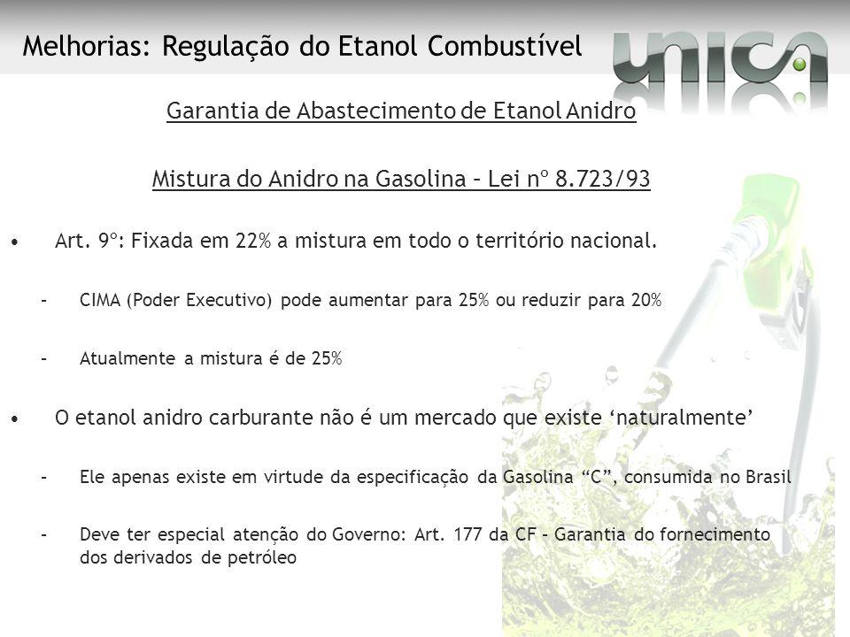 Melhorias: Regulação do Etanol Combustível Garantia de Abastecimento de Etanol Anidro Mistura do Anidro na Gasolina – Lei nº 8.723/93 Art. 9º: Fixada