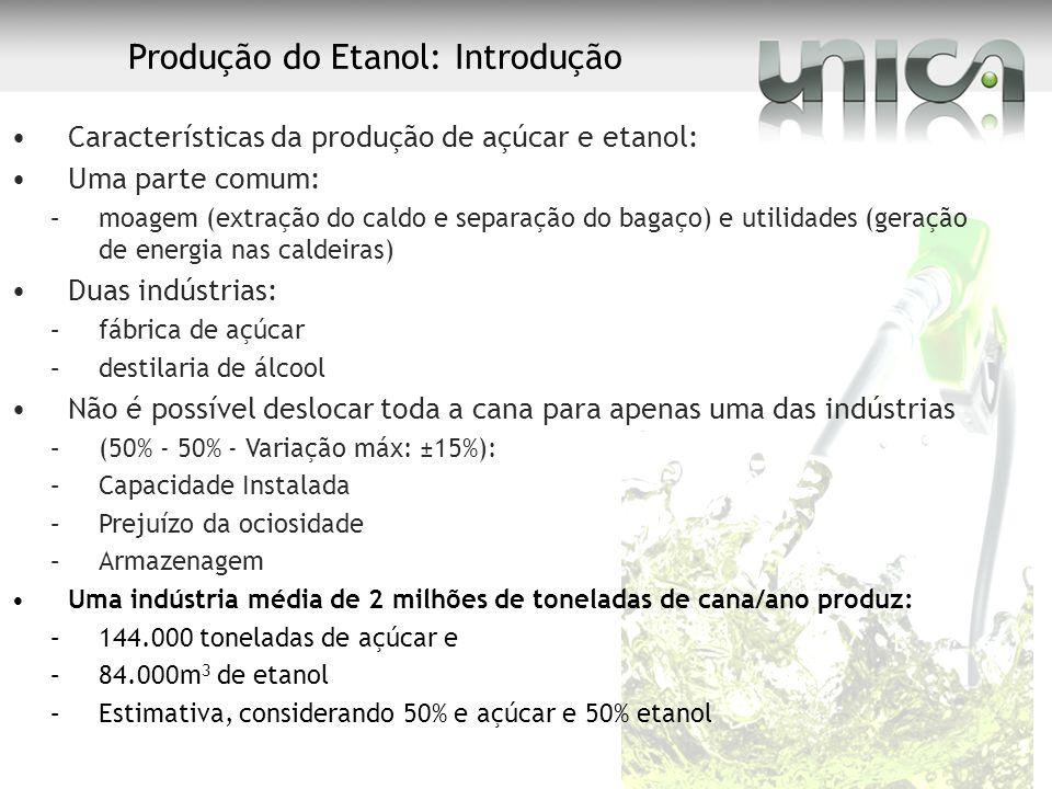 Produção do Etanol: Introdução Características da produção de açúcar e etanol: Uma parte comum: –moagem (extração do caldo e separação do bagaço) e ut