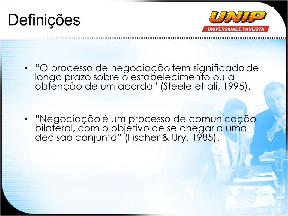 Definições O processo de negociação tem significado de longo prazo sobre o estabelecimento ou a obtenção de um acordo (Steele et ali, 1995). Negociaçã