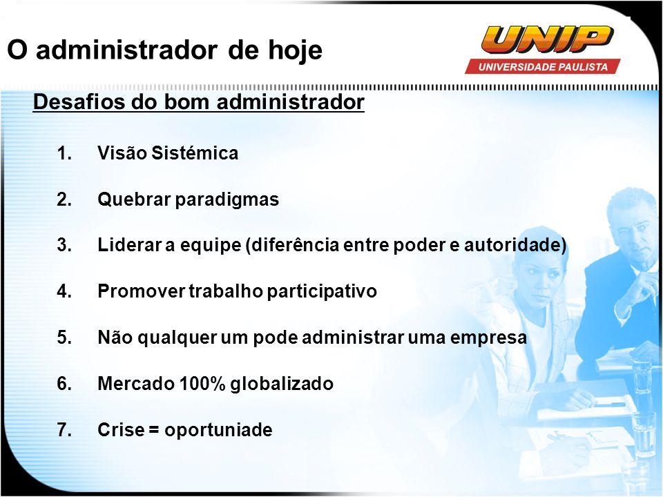O administrador de hoje Desafios do bom administrador 1.Visão Sistémica 2.Quebrar paradigmas 3.Liderar a equipe (diferência entre poder e autoridade)