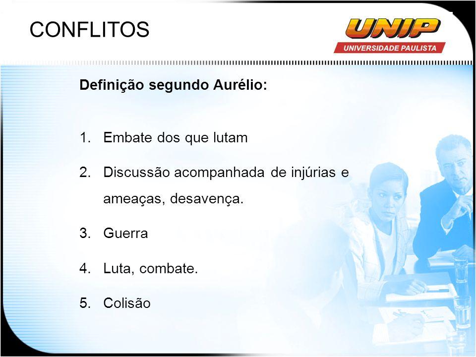 CONFLITOS Definição segundo Aurélio: 1.Embate dos que lutam 2.Discussão acompanhada de injúrias e ameaças, desavença. 3.Guerra 4.Luta, combate. 5.Coli
