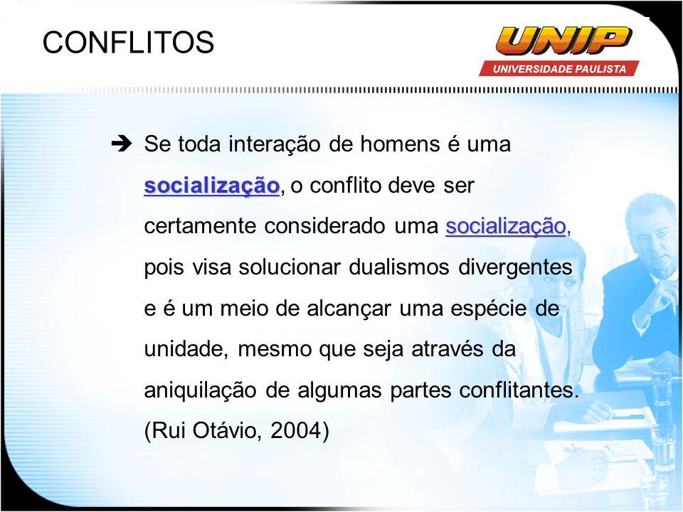CONFLITOS socialização socialização Se toda interação de homens é uma socialização, o conflito deve ser certamente considerado uma socialização, pois