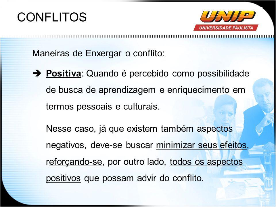 CONFLITOS Maneiras de Enxergar o conflito: Positiva: Quando é percebido como possibilidade de busca de aprendizagem e enriquecimento em termos pessoai