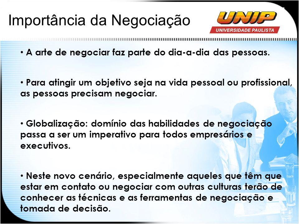 Importância da Negociação A arte de negociar faz parte do dia-a-dia das pessoas. Para atingir um objetivo seja na vida pessoal ou profissional, as pes