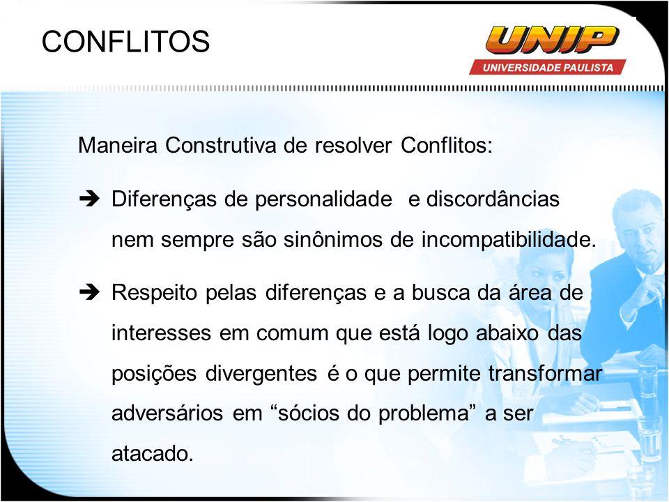 CONFLITOS Maneira Construtiva de resolver Conflitos: Diferenças de personalidade e discordâncias nem sempre são sinônimos de incompatibilidade. Respei