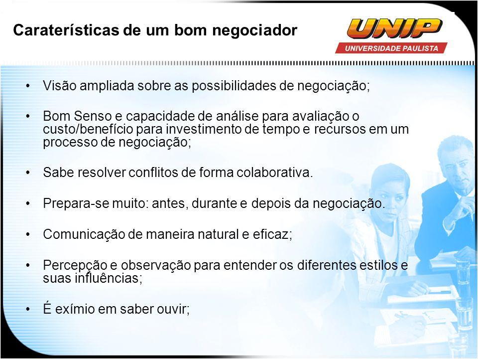Caraterísticas de um bom negociador Visão ampliada sobre as possibilidades de negociação; Bom Senso e capacidade de análise para avaliação o custo/ben