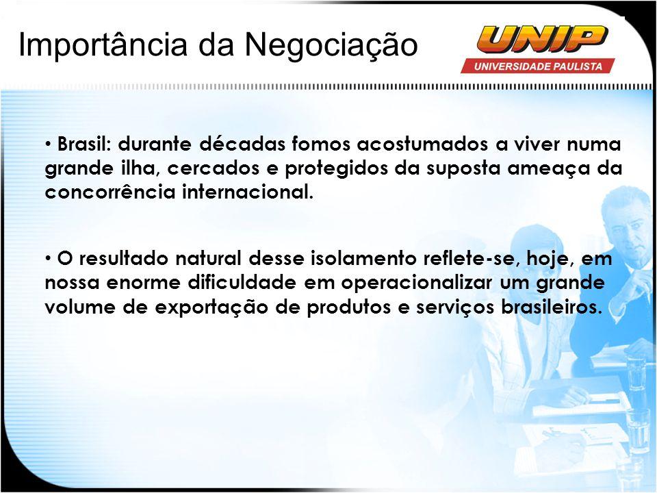 Importância da Negociação Brasil: durante décadas fomos acostumados a viver numa grande ilha, cercados e protegidos da suposta ameaça da concorrência
