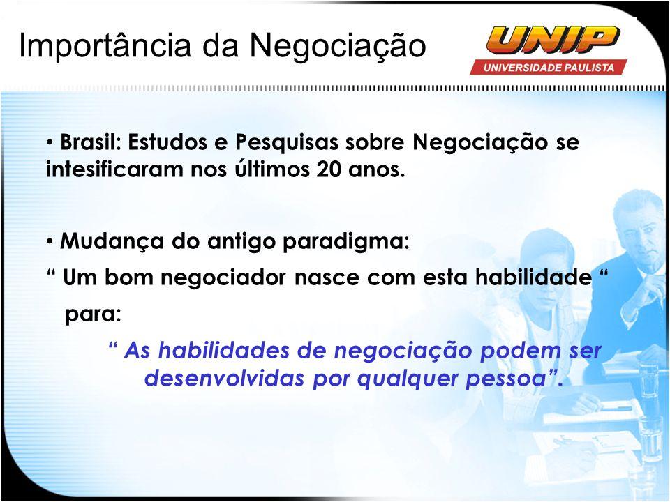 Importância da Negociação Brasil: Estudos e Pesquisas sobre Negociação se intesificaram nos últimos 20 anos. Mudança do antigo paradigma: Um bom negoc